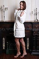 Женский махровый халат короткий MISS Белый