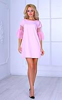 Женское платье с рукавами 3/4 (розовое) Poliit № 8404