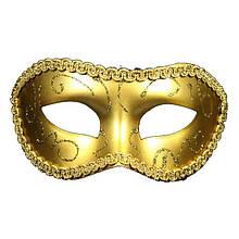 Маска венецианская с узором золотистая