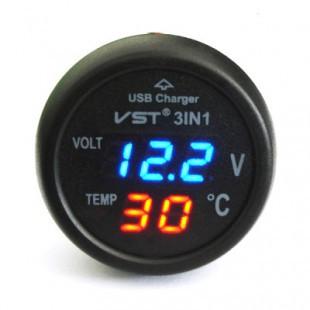 Автомобильный термометр-вольтметр Часы VST 706-5 в машину