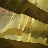 Тюль фатин олива с полосками, фото 1