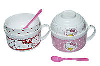 Набор детской посуды Супница + пиала+ложка, Hello Kitti, 2 цвета