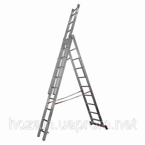 Драбина алюмінієва 3-х секційна Stairs L311, фото 2