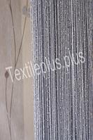 Шторы нити однотонные с люрексом - серебристый