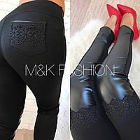 Женские модные леггинсы-ботфорты с эко-кожей и кружевом