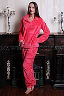 Пижама женская махровая УЮТ коралловая (бесплатная доставка+подарок)