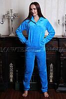 Пижама женская махровая Реллакс голубая (бесплатная доставка+подарок)