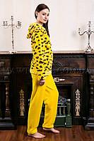 Женский домашний костюм Leopard желтый