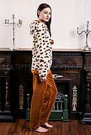 Женский домашний костюм Leopard бежевый