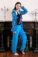 Женский домашний костюм Leopard голубой