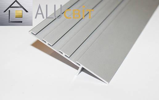 Плинтус  алюминиевый скрытого монтажа 80 мм анодированный серебро, фото 2