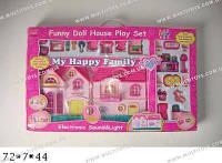 Кукольный дом с куклой,мебелью батар.муз.свет.