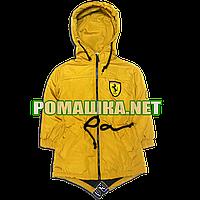 Детская весенняя, осенняя куртка-парка р. 92 с капюшоном подкладка 100% хлопок 3622 Оранжевый