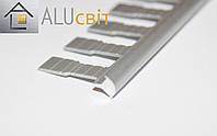 Профиль алюминиевый облицовочный для угловых стыков плитки под 45 град,3 м, серебро, золото, бронза