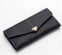 Черный женский кожаный кошелек клатч