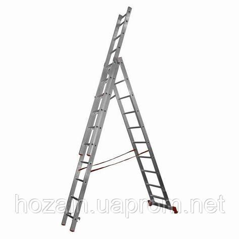 Лестница 3-х секционная алюминиевая Stairs  L313, фото 2