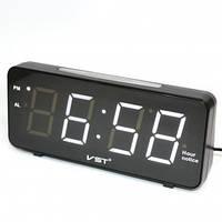 Светодиодные настольные часы-будильник VST 763T-6 электронные белая подсветка