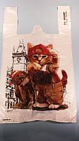 """Пакеты майка с рисунком больших размеров,  (29+2*7,5х50) """"Кот с совой""""Леони (100 шт)"""