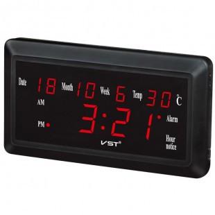 Настольные часы с календарем VST-780W-1 с большим, красным LED-дсиплеем.