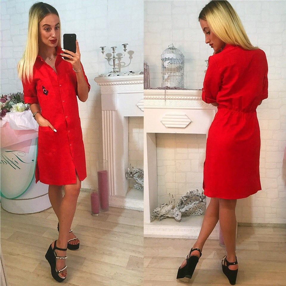 bd6177e2431 Красное льняное платье-халат на пуговицах. Арт-2319 2