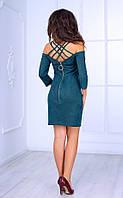 Женское платье с открытыми плечами и спиной (зеленое) Poliit № 8417