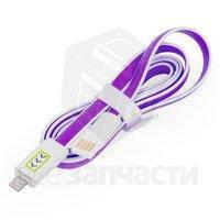 USB дата-кабель для мобильных телефонов Apple; планшетов Apple, фиолетовый, с индикатором зарядки, 100 см, Lig