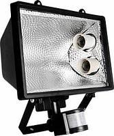 Прожектор с датчиком на движение под энергосберегающую лампу 2 патрона Е27 черный