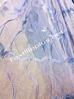 Тюль вышивка с вырезом голубая
