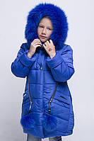 Красивое зимнее пальто для девочки с натуральной опушкой.