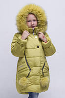 Зимнее пальто для девочки с натуральной опушкой.
