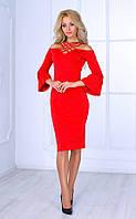 Женское платье миди с плетеным вырезом (красное) Poliit № 8407