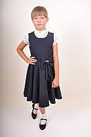 Платье школьное для девочки (цв.т/синий) бант Рост:110