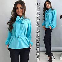 Костюм женский модный блузка с бантом и брюки разные цвета Da629