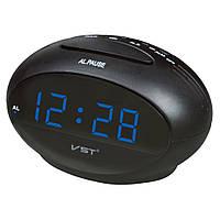 Настольные часы vst-711-5, синяя подсветка, электронный будильник, работают от сети 220в, фото 1