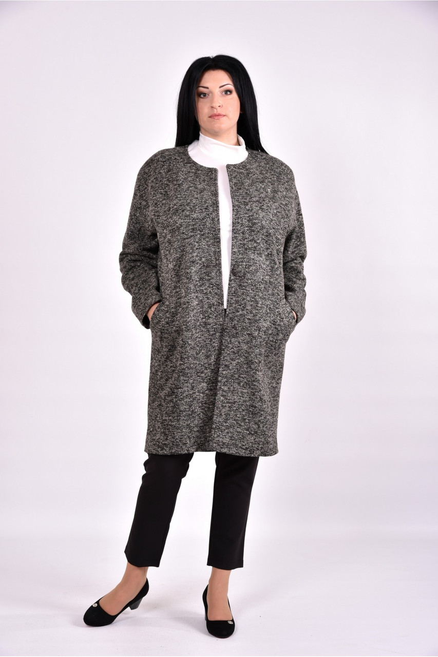 Женский оригинальное пальто осенне весеннее T0602 цвет кофе размер 42-74