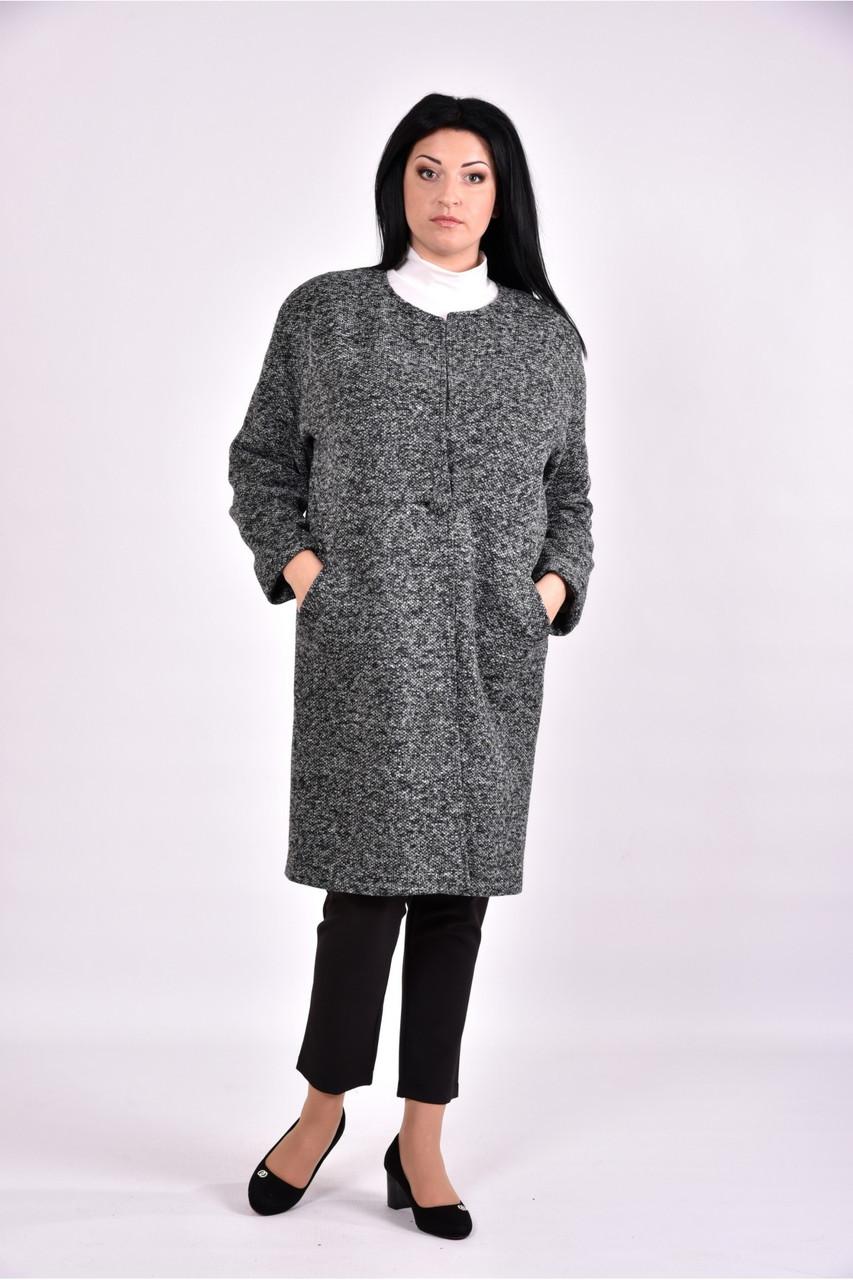 Женский оригинальное пальто осенне весеннее T0602 цвет серый размер 42-74
