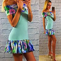 Яркое летнее бирюзовое платье с цветным рюшем.  Арт-2330/2