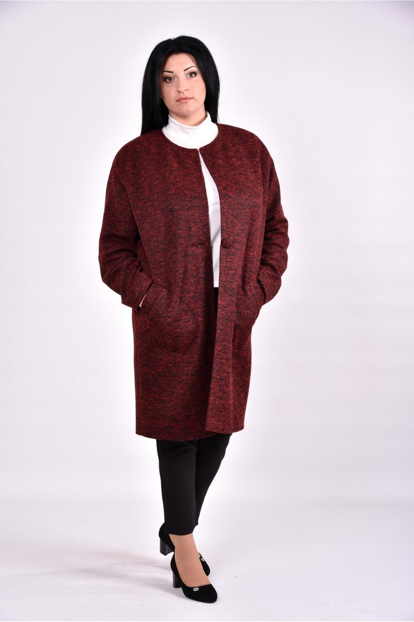 Женский оригинальное пальто осенне весеннее T0602 цвет бордо размер 42-74