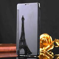 Черный зеркальный премиум чехол-книжка для Samsung Galaxy J310 (2016)