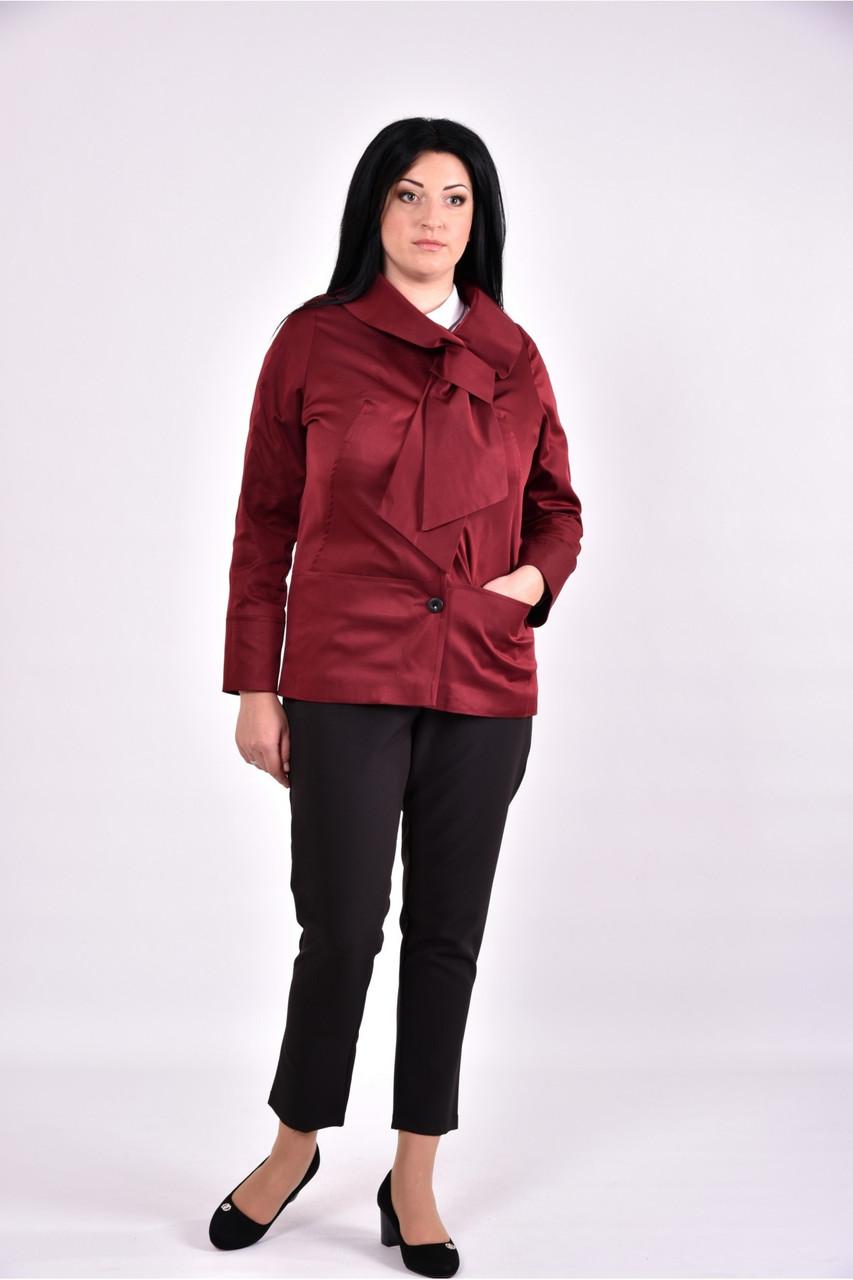 Женский плащ с карманами 0601 цвет бордо размер 42-74