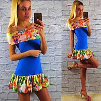 Яркое летнее голубое платье с цветным рюшем.  Арт-2330/2