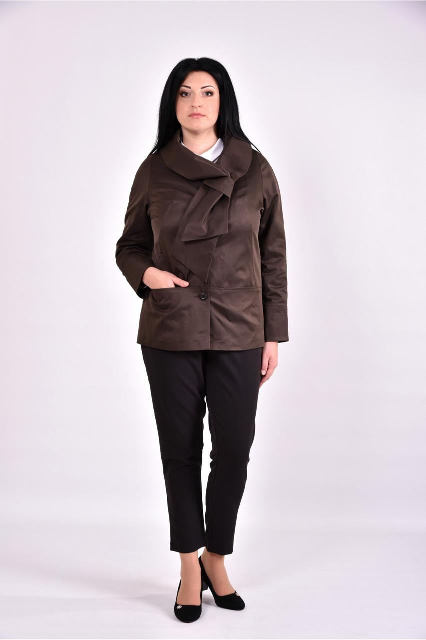 Женский плащ с карманами 0601 цвет коричневый размер 42-74