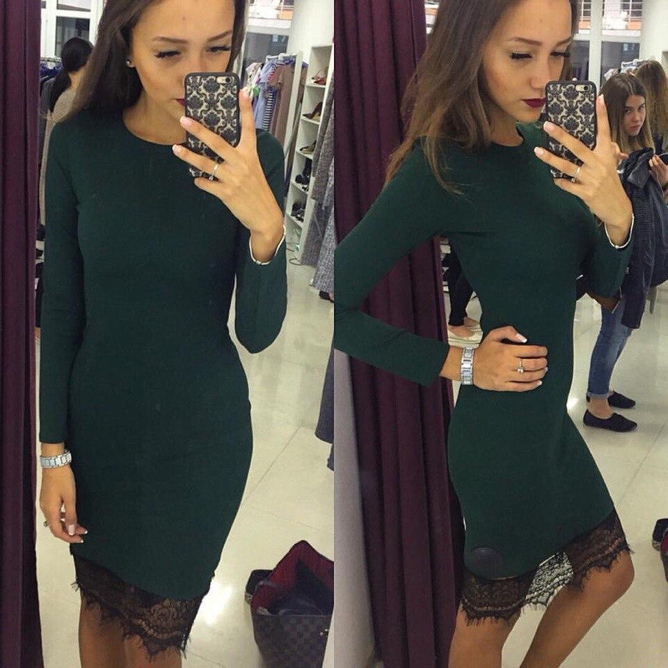 f9d3c70578f Зеленое стильное облегающее трикотажное платье с черным кружевом внизу.  Арт-2331 2