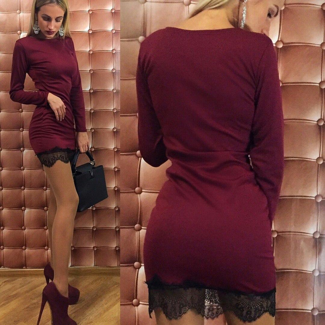1d556f69924 Бордовое стильное облегающее трикотажное платье с черным кружевом внизу.  Арт-2331 2