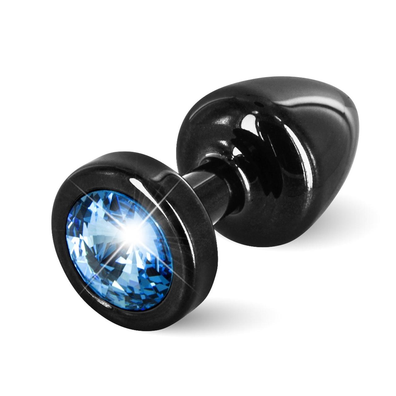 Анальная пробка со стразом Diogol Anni round black Аквамарин 25 мм