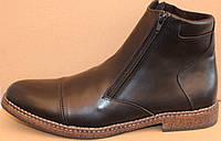 Зимние мужские ботинки кожаные на молнии, обувь зимняя для мужчин от производителя модель АМ010