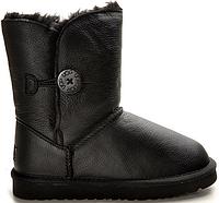 Детские зимние сапоги Угги UGG Baby Bailey Button Leather Black, с пуговицей черные арт.0911