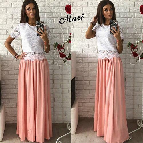 b62f3ef322cf Костюм модный с макси юбкой и блузой из кружева разные цвета 2Kmil554