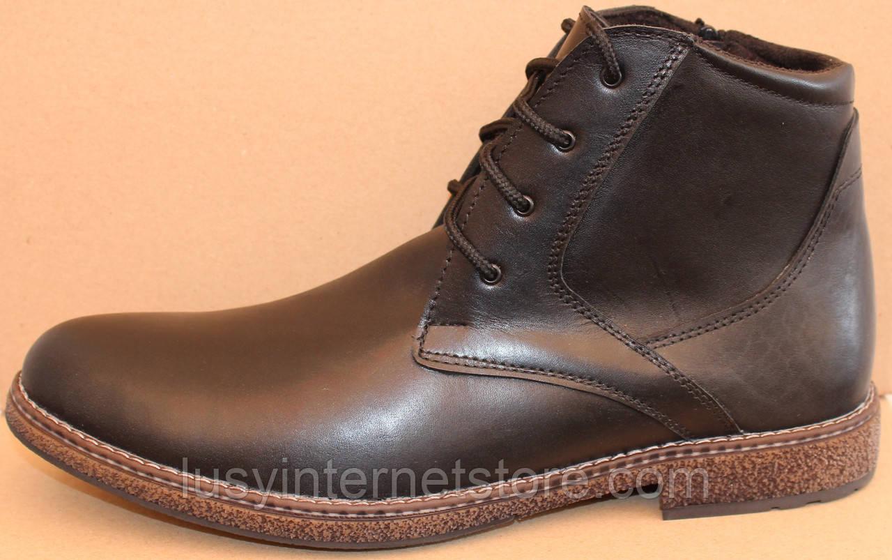 3b4bc6be1 Зимние мужские ботинки кожаные на шнурках и молнии, обувь зимняя для мужчин  от производителя модель