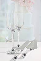 """Набор  """"Crystal Plus"""" Бокалы 270 ml и фигурные приборы для торта"""